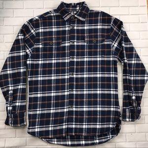 JACHS Mens Blue Plaid Flannel Cotton Shirt Sz M